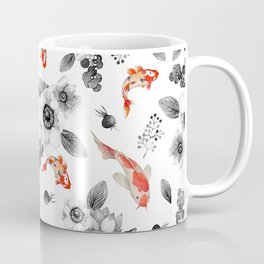 Colorful orange black white watercolor floral koi fish Coffee Mug