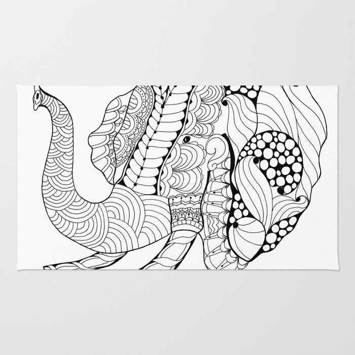Elephant Zentangle/Doodle art Rug