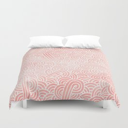 Rose quartz and white swirls doodles Duvet Cover