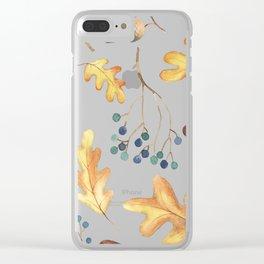 Autumn Leaves, Acorns, Blueberries Clear iPhone Case