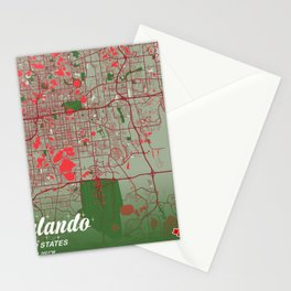 Orlando - United States Christmas Color City Map Stationery Cards