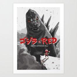 Gojira vs Red Art Print