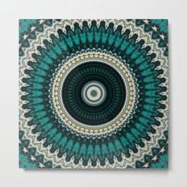 Mandala Fractal in Teal Study 01 Metal Print