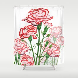 pink and red carnation watercolor painting Shower Curtain