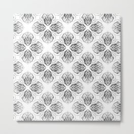 Black and White Doodle Flower Drawing Metal Print