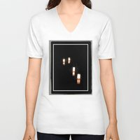 lanterns V-neck T-shirts featuring Lanterns of Healing (Japan) by Julie Maxwell