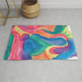 Facing Colors: Abstract Rainbow Painting Rug