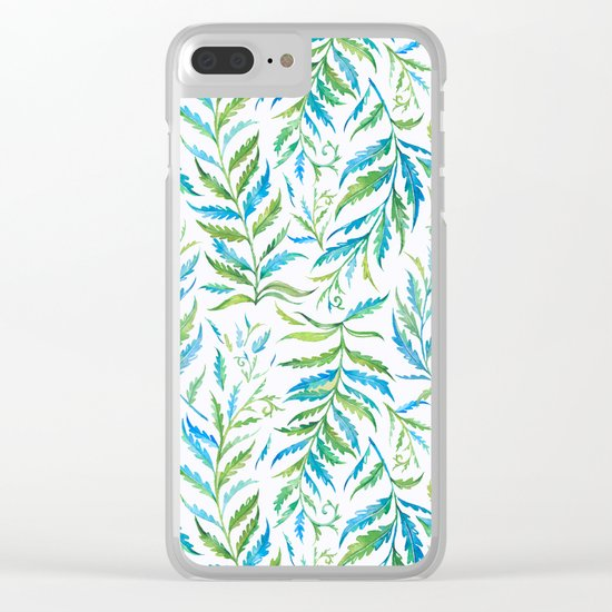 Leaves Green And Blue Clear iPhone Case