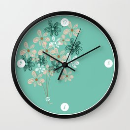 Delicate flowers - hand drawing Wall Clock