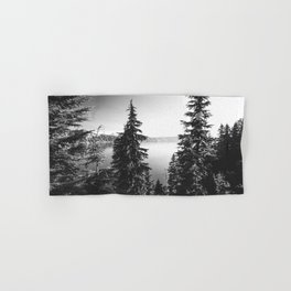 Mountain Lake Forest Black and White Nature Photography Hand & Bath Towel
