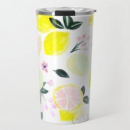 Pink Lemonade Citrus and Flowers Travel Mug