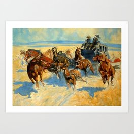 "Frederic Remington Western Art ""Downing the Nigh Leader"" Art Print"