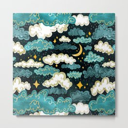 Midnight Rainclouds - Golden Lining Metal Print