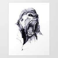 ape Art Prints featuring Wild Rage by Philipp Zurmöhle