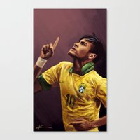 neymar Canvas Prints featuring Neymar Jr. by apfelgriebs