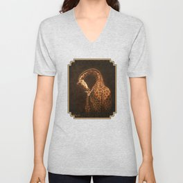 Reticulated Giraffe Mother and Baby Unisex V-Neck