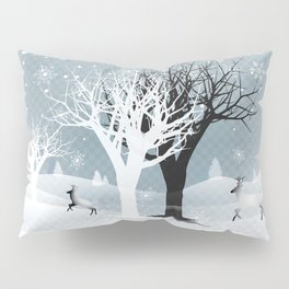 Winter Holiday Fairy Tale Fantasy Snowy Forest Collection Pillow Sham