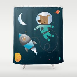 Space Dog Shower Curtain