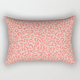 Leopard Print | Living Coral Pink with Tan Background | girly pastel | Cheetah Rectangular Pillow