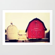 Red barn mail box Art Print
