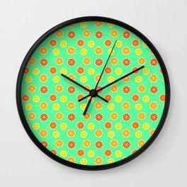 Bright Citrus Pattern Wall Clock