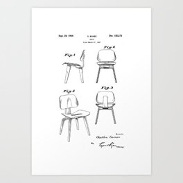 Eames Molded Plywood Lounge Chair - Original Patent/Blueprint Artwork Reproduction Art Print