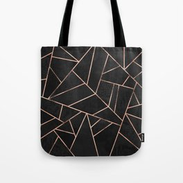 Velvet Black & Rose Gold Tote Bag