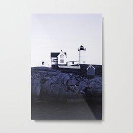 Navy Blue Maine Lighthouse Metal Print