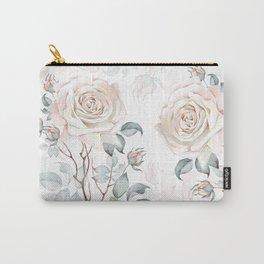 Watercolor Vintage Rose Bouquet Carry-All Pouch
