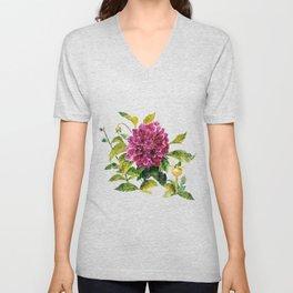 Cut Dahlia Watercolor on Wrinkled Paper Unisex V-Neck