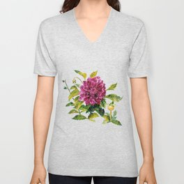 Cut Dahlia Watercolor on Wrinkled Paper Unisex V-Neck