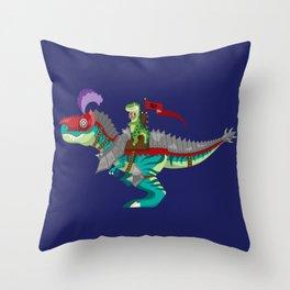 Dino Knight T-Rex Throw Pillow