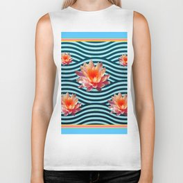 Peach Color Water Lily Water Garden Biker Tank