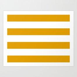 Golden Honey and White Large Stripes Pattern Art Print