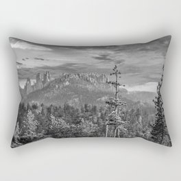 Black Hills South Dakota Black White Print Rectangular Pillow