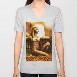 Golden Egyptian Goddess Statue Unisex V-Neck