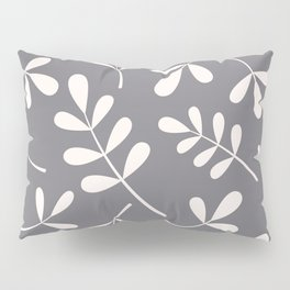 Assorted Leaf Silhouettes Cream on Grey Pillow Sham