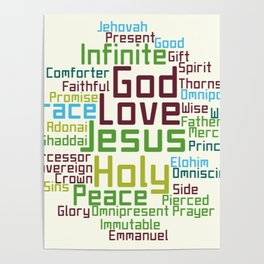 Names and Attributes of Jesus Word Cloud Poster