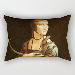 Lady with a Velociraptor Rectangular Pillow