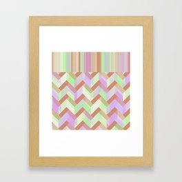 Lime Chevron Stripes Framed Art Print