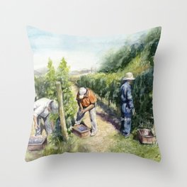 Vineyard Watercolor Landscape Wine Grapes Nature Throw Pillow