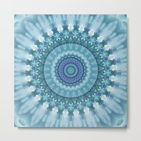 Turquoise and Navy Mandala Metal Print