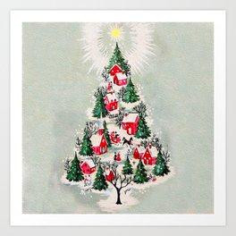 Vintage Christmas Tree Village Art Print