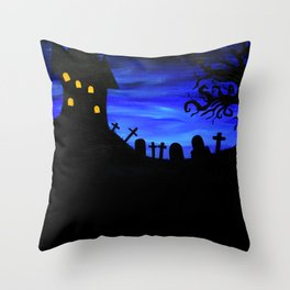 Haunted House Silhouette Throw Pillow