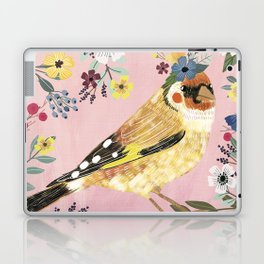 Goldfinch bird with floral crown Laptop & iPad Skin