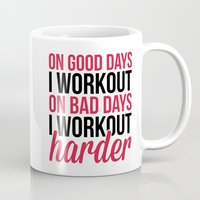 workout Mugs featuring Workout Harder Gym Quote by EnvyArt