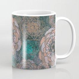 Peony Flowers Peach and Green Coffee Mug