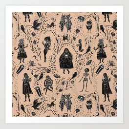 Creatures of the Night (orange) Art Print