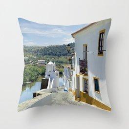 Narrow cobbled Alentejo street in Portugal Throw Pillow