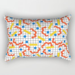 Primal - memphis throwback squiggle circle geometric grid lines dots trendy hipster 80s retro cool Rectangular Pillow